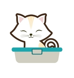White small cat sitting stripes closed eyes vector