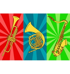 with isolated trumpets and saxophone vector image vector image