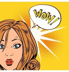 Wow surprise girls pop art comics retro style vector