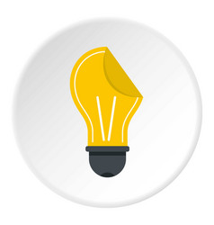 Yellow bulb sticker icon circle vector