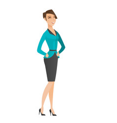 Young caucasian business woman laughing vector