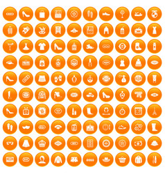 100 woman shopping icons set orange vector