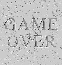 Game over letters carved on stone plate chips on vector