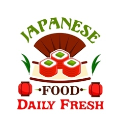 Japanese food daily fresh sushi maki rolls vector