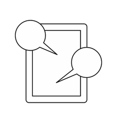 Tablet and speech bubbles icon outline style vector