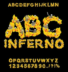 Inferno abc hell font fire letters sinners in vector