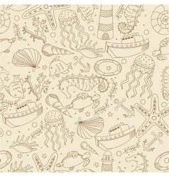 Sea line art design seamless vector