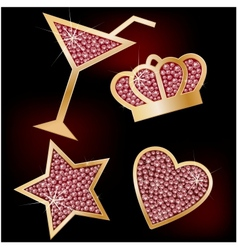 Crown star heart the martinis decorated with vector image