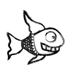 Contour fun fish carucature icon vector