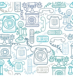 Vintage and modern telephones seamless pattern vector