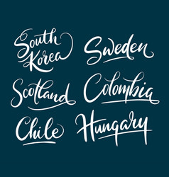 Colombia and scotland hand written typography vector