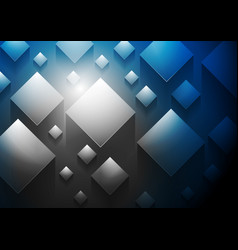 Dark blue tech 3d cubes background vector