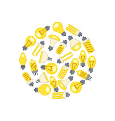 Yellow light bulbs icons in circle on white vector