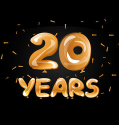 20 years golden anniversary celebration vector image