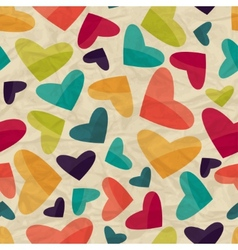 Seamless pattern with hearts on crumpled paper vector