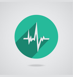 Pulse heart rate white icon in flat style vector