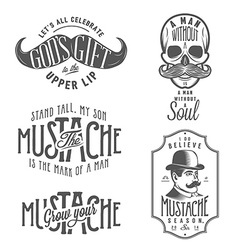 Set of mustache related quotes and design elements vector