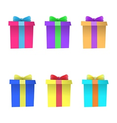 Set of multi-colored gift boxes vector