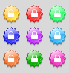 Pad lock icon sign symbol on nine wavy colourful vector