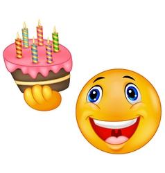 Smiley emoticon holding birthday cake vector image