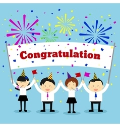 Businessmen holding congratulation sign vector