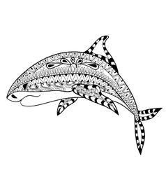 Zentangle shark totem for adult anti stress vector