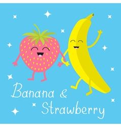 Banana and strawberry sparkles on blue happy fruit vector