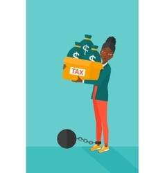 Chained woman with bags full of taxes vector