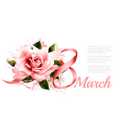 8th march vintage pink rose with ribbon vector image vector image
