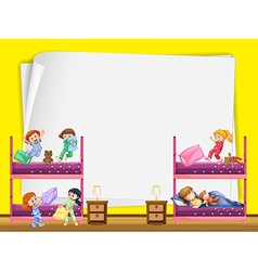 Paper design with kids in bedroom vector image