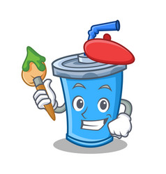 Artist soda drink character cartoon vector