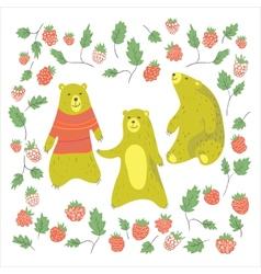 Bear and raspberry vector