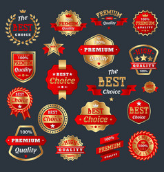 best choice and premium quality product badges vector image vector image