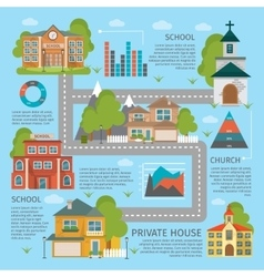 Building School Church Infographics vector image