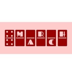 Calendar date - march 8 domino bones style vector