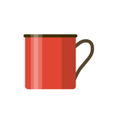 Camping red enamel mug isolated on white vector