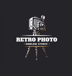 classic photo camera logo - vector image vector image