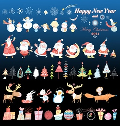 Collection of Christmas design element vector image vector image