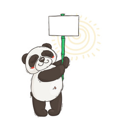 Cute panda with a poster on a bamboo stick vector
