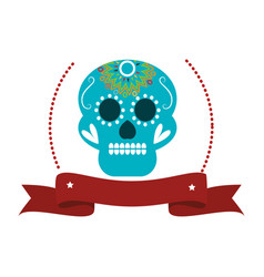 Decorative ornamental sugar skull with ribbon vector