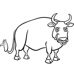 farm bull cartoon for coloring book vector image vector image