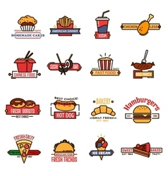 Fast food bakery and sushi bar thin line icons vector image