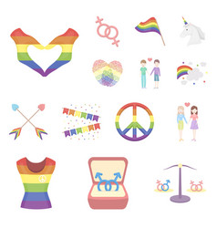 Gay and lesbian cartoon icons in set collection vector