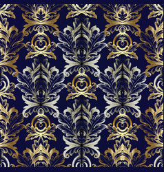 gold silver baroque seamless pattern vector image vector image