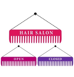 hair salon sign with comb vector image vector image