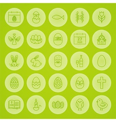 Happy Easter Line Circle Icons Set vector image vector image