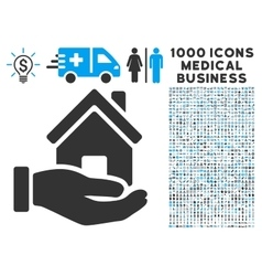 Home offer icon with 1000 medical business symbols vector