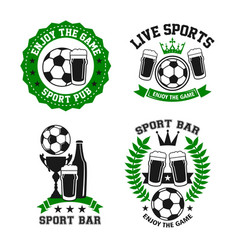 Icons for soccer bar or football pub vector