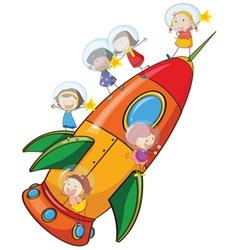 kids on rocket vector image vector image