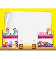 Paper design with kids in bedroom vector
